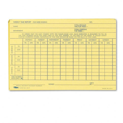 tops employee time report card  weekly  6 x 4  100  pack