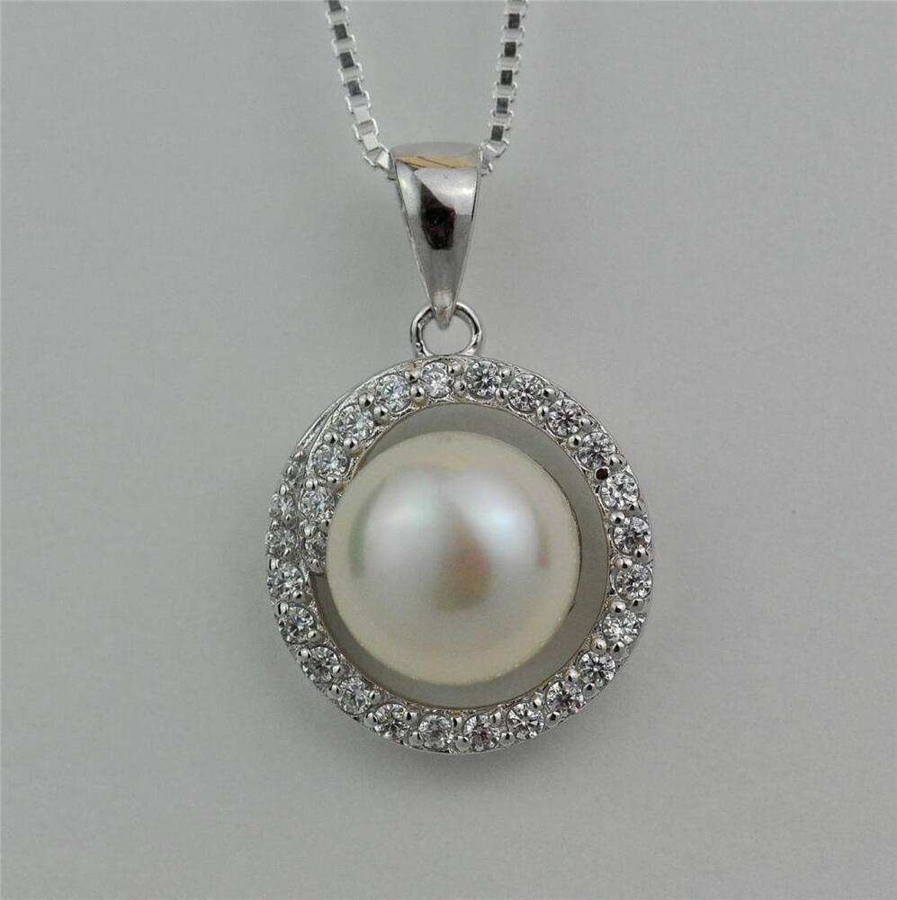 sterling silver white freshwater pearl halo pendant