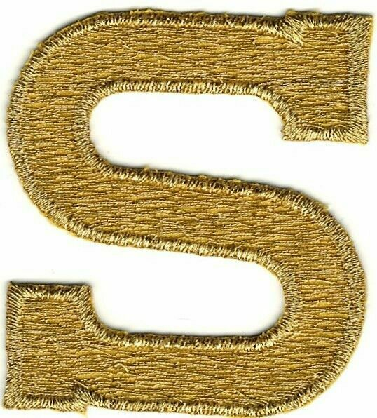Gold Metallic Monogram Block letter F Embroidery Patch