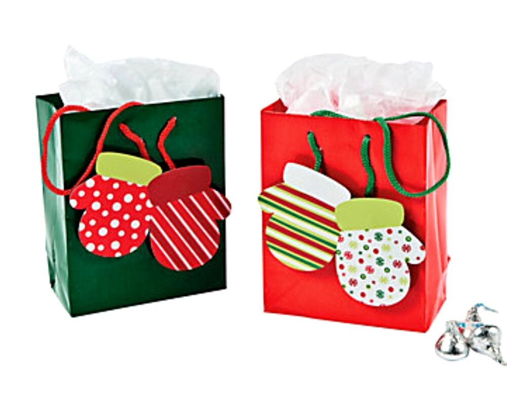 Wholesale Lot 48 Red Green MITTENS Glossy Gift Bags