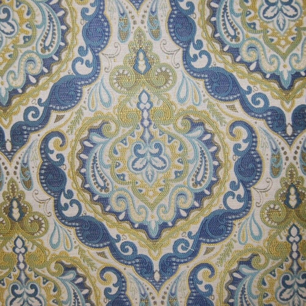 fabric damask decor yard indigo woven heavy weight