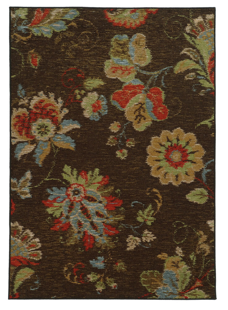 5 X7 Sphinx Floral Brown Flowers Circles 41908 Area Rug