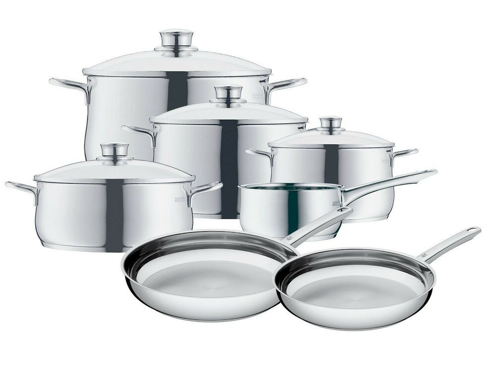 wmf diadem plus 11 piece cookware set 18 10 stainless steel ebay. Black Bedroom Furniture Sets. Home Design Ideas