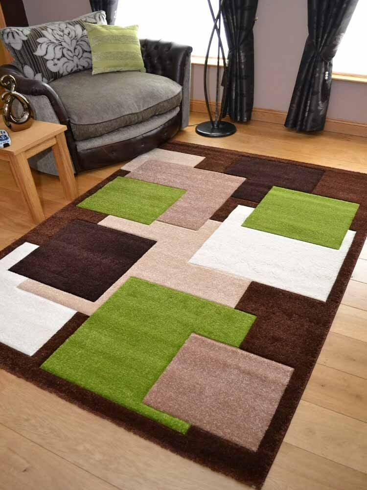 New Modern Thick Dense Pile Brown Green Squares Floor Mat