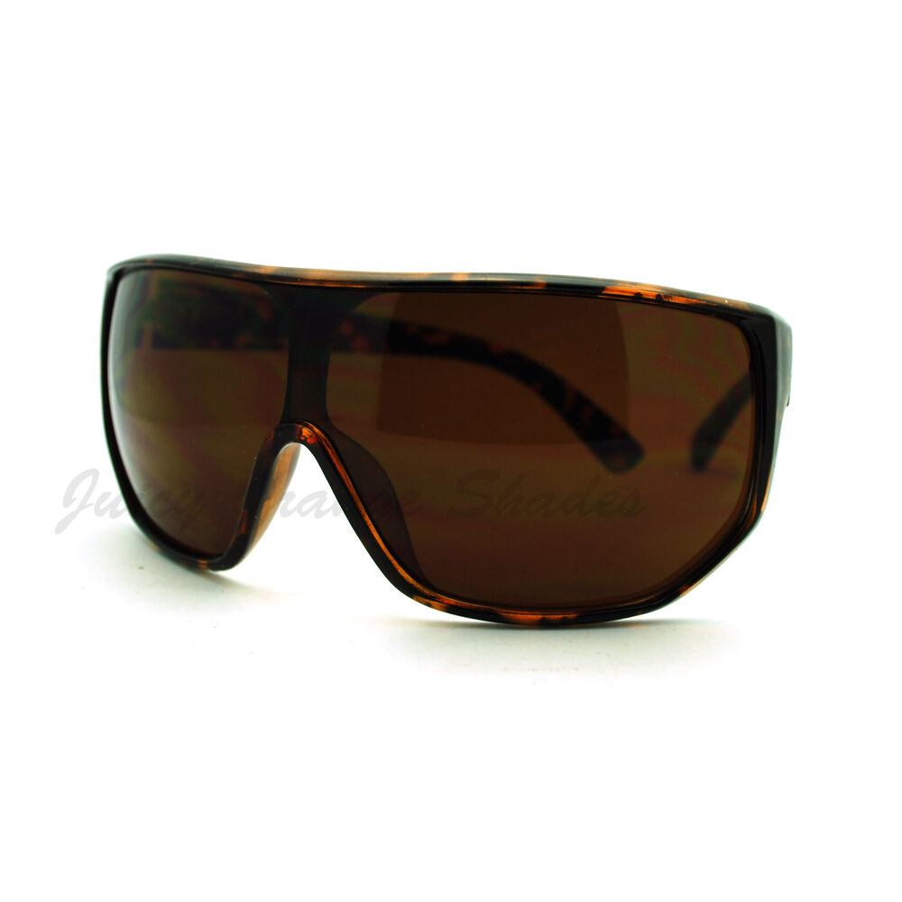 Mens Goggle Sunglasses Super Oversized Shield Wrap Super ...