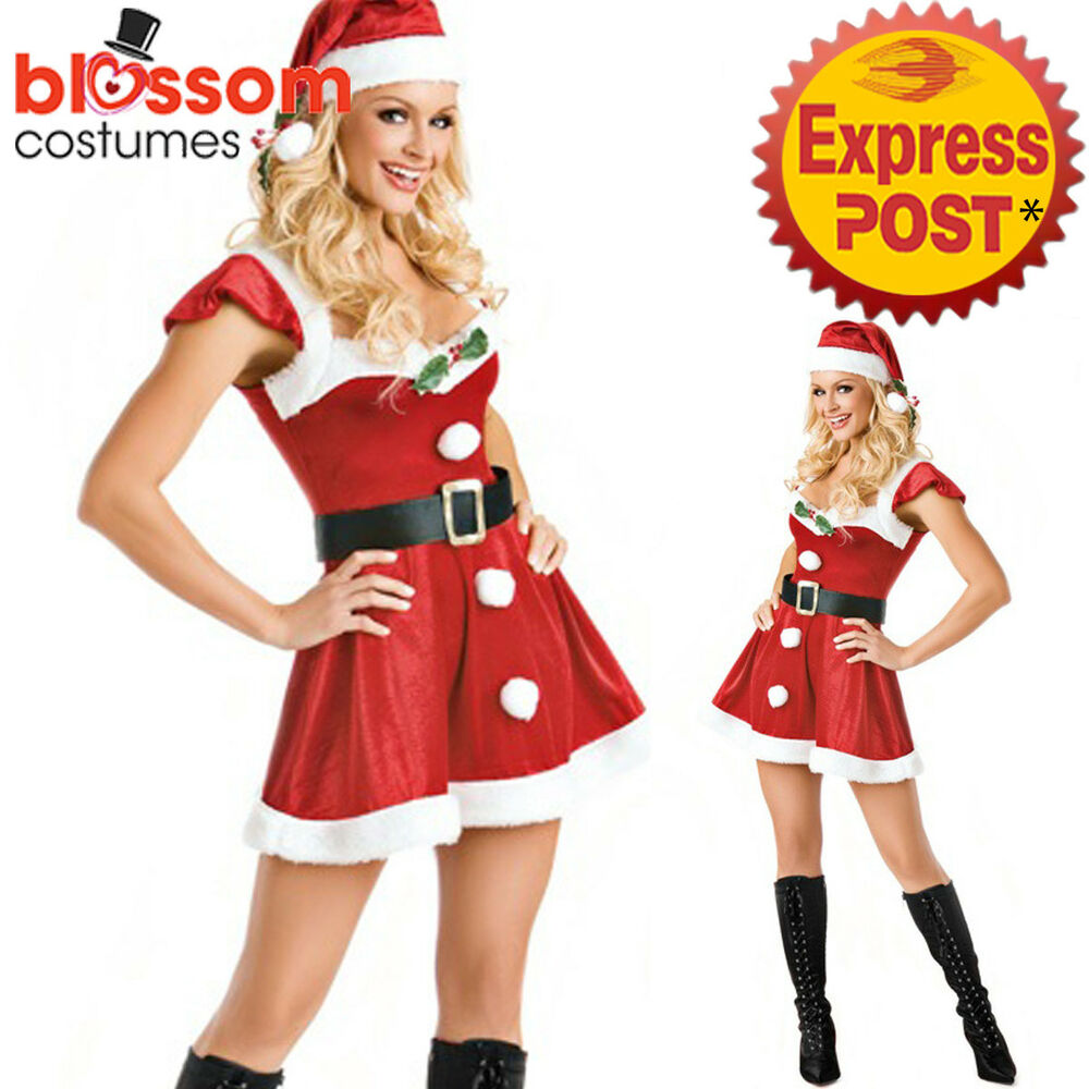 F27 santa claus christmas helper fancy dress costume xmas party outfit