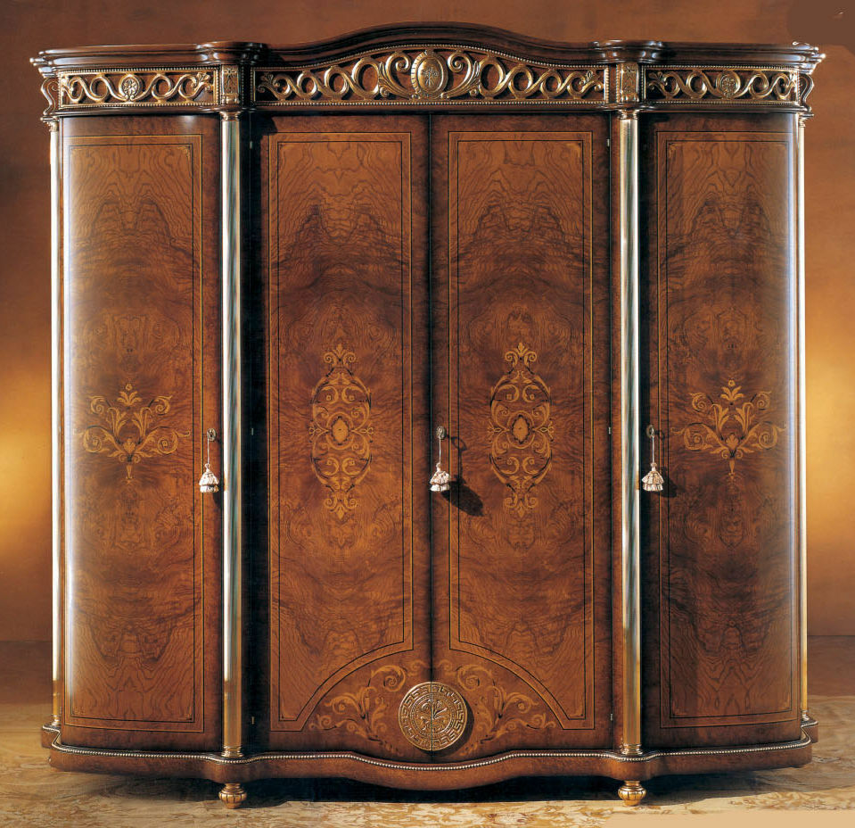 honey walnut 4 door wardrobe armoire ebay. Black Bedroom Furniture Sets. Home Design Ideas