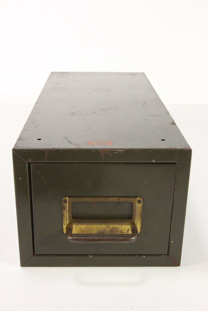 one drawer filing cabinet vintage army green weis single drawer file note index card 24033