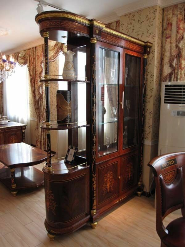 Cherry glass double faced curio cabinet ebay for Cherry kitchen cabinets with glass doors