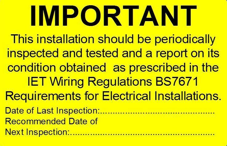 Electrical Safety Inspection Stickers : Periodic electrical safety test stickers no contact