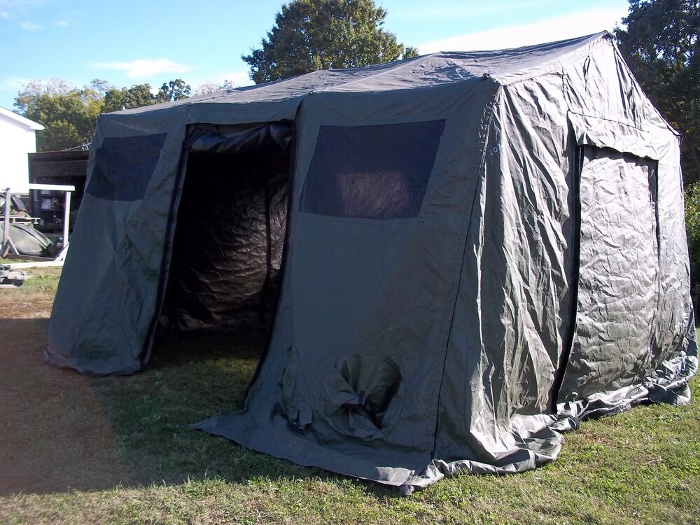 Military Base X Tent 203 Army Surplus Canvas 210 Sq Ft No