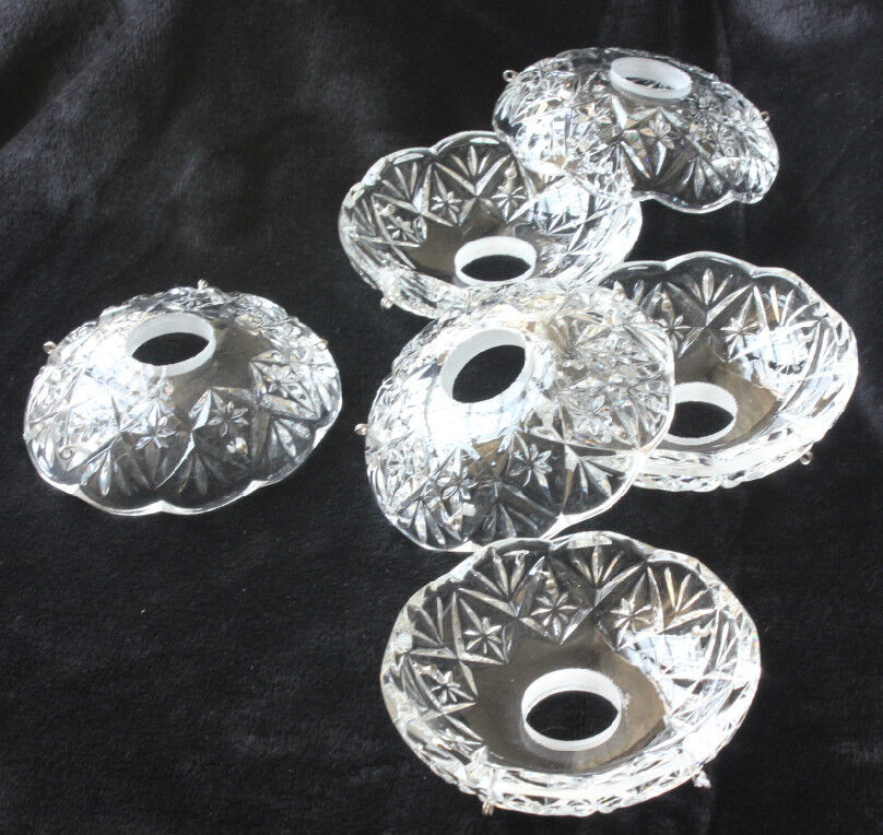 Lot Of 6 Glass Candle Vintage Crystals Bowl Chandelier