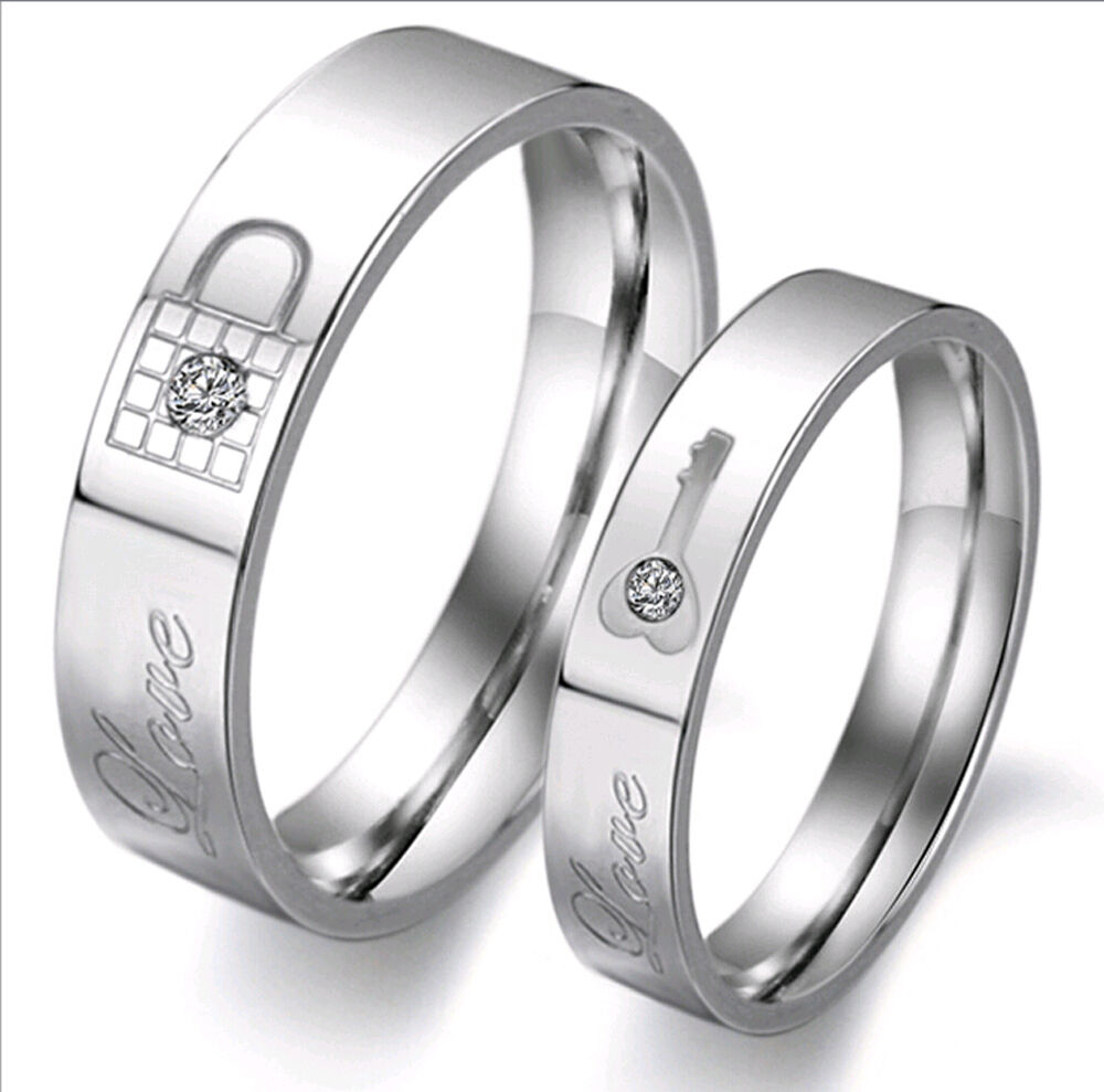 lock and key promise ring love engraved couples. Black Bedroom Furniture Sets. Home Design Ideas
