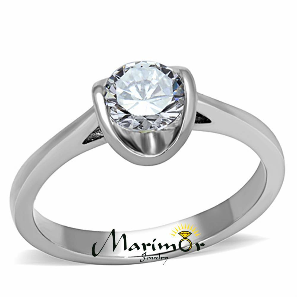 stainless steel 85ct zirconia tension setting promise engagement ring sz 5 10 ebay. Black Bedroom Furniture Sets. Home Design Ideas