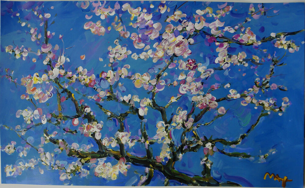 Van Gogh Painting Almond Blossom Blue Tree Canvas Pictures