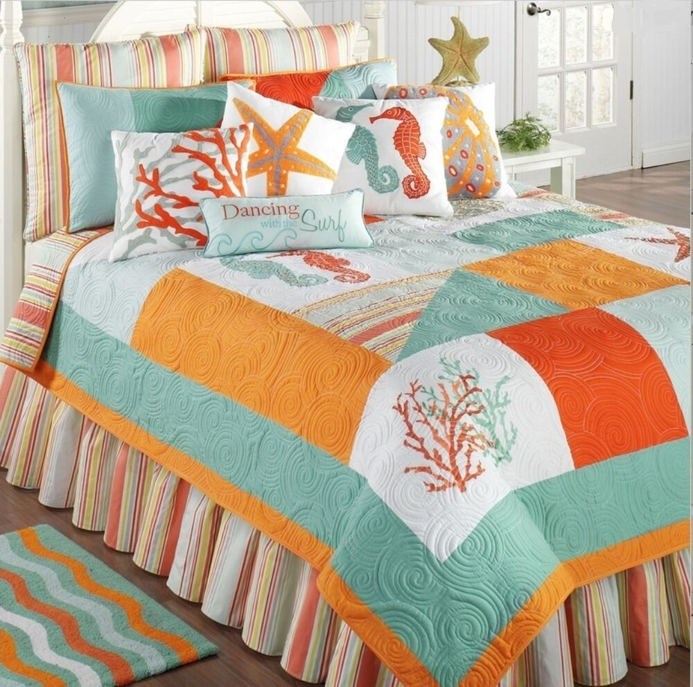 Fiesta Key Full Queen Quilt Set Beach Tropical Orange Aqua Seahorse Comforter Ebay