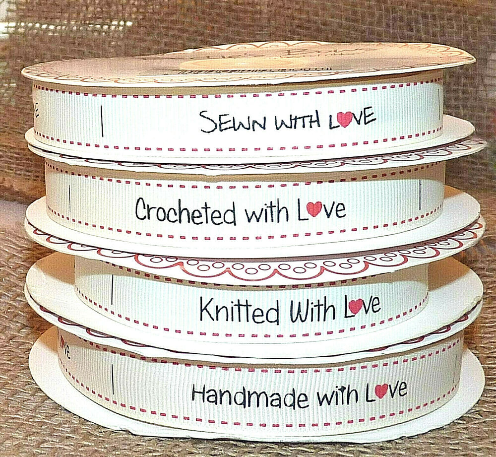 20 bertie39s bows grosgrain ribbon labels crocheted for Hand knit with love labels