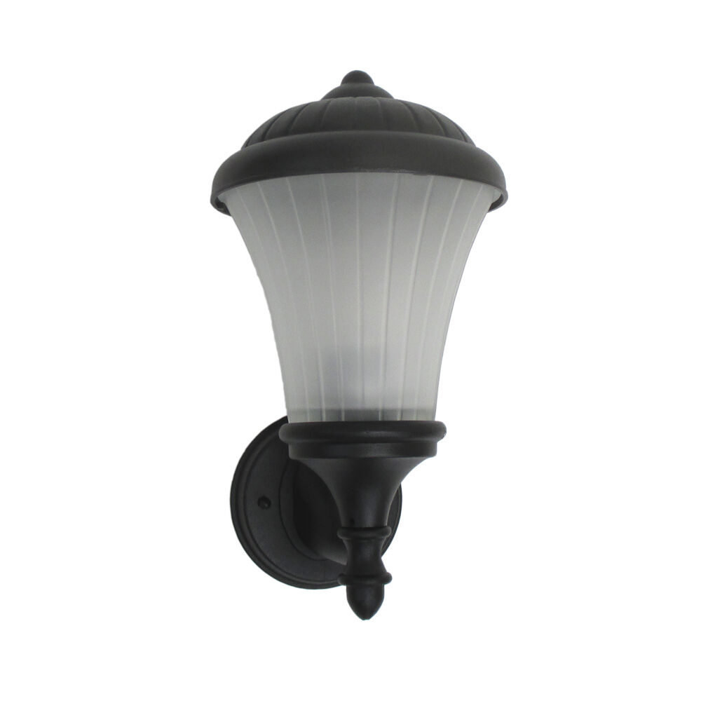 Wall Lights Frosted Glass : Black With Frosted Melon Glass Exterior Wall Light eBay