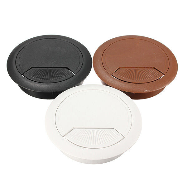 plastic 60mm pc computer desk table grommet cable wire tidy outlet hole cover ebay. Black Bedroom Furniture Sets. Home Design Ideas