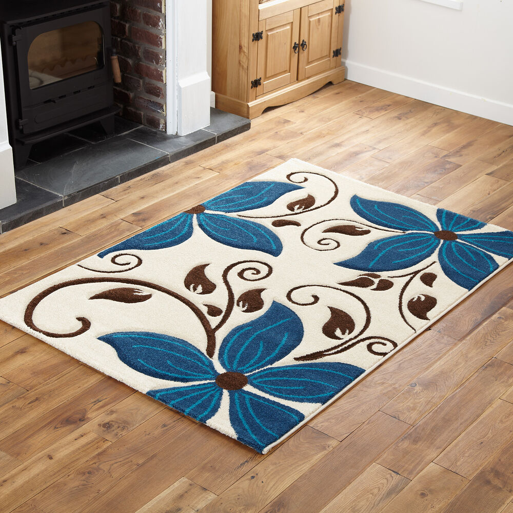Small Large Pink Rug Cerise Runners Sparkle Modern Thick: EXTRA LARGE FLOWER DESIGN CREAM TEAL BLUE HAND