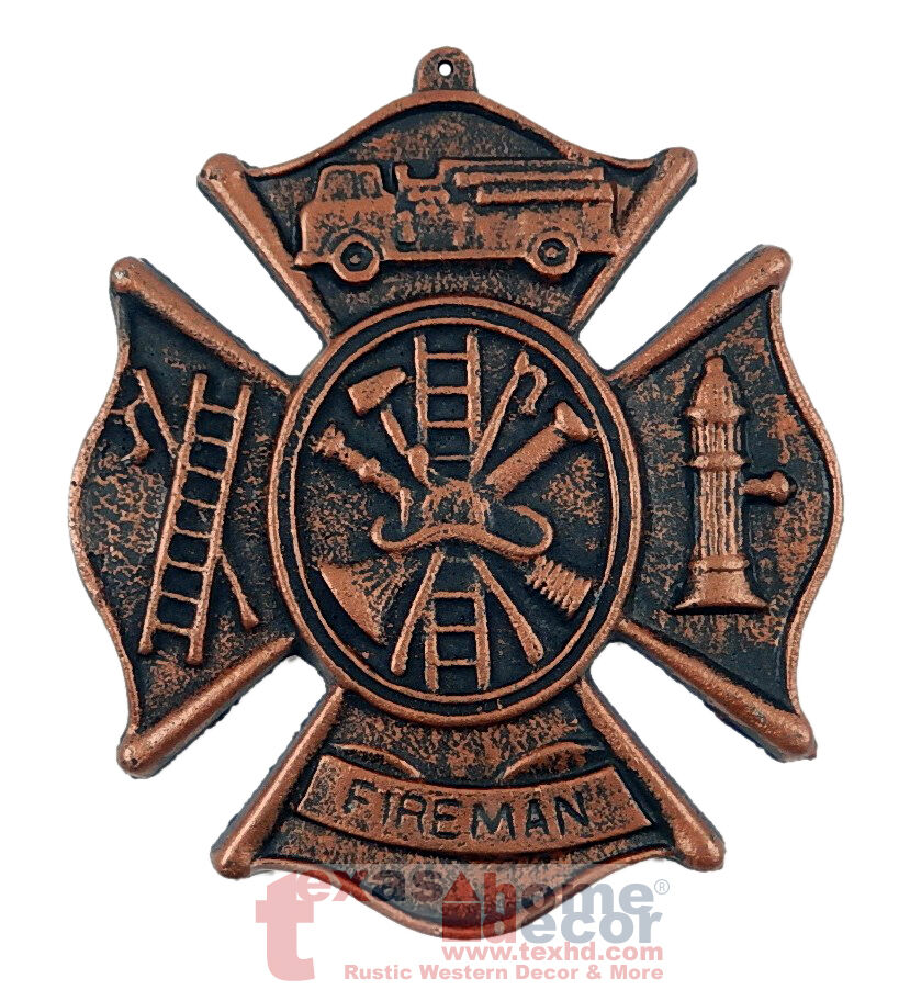fireman 39 s plaque cast iron rustic firefighter symbols wall decor maltese cross ebay. Black Bedroom Furniture Sets. Home Design Ideas