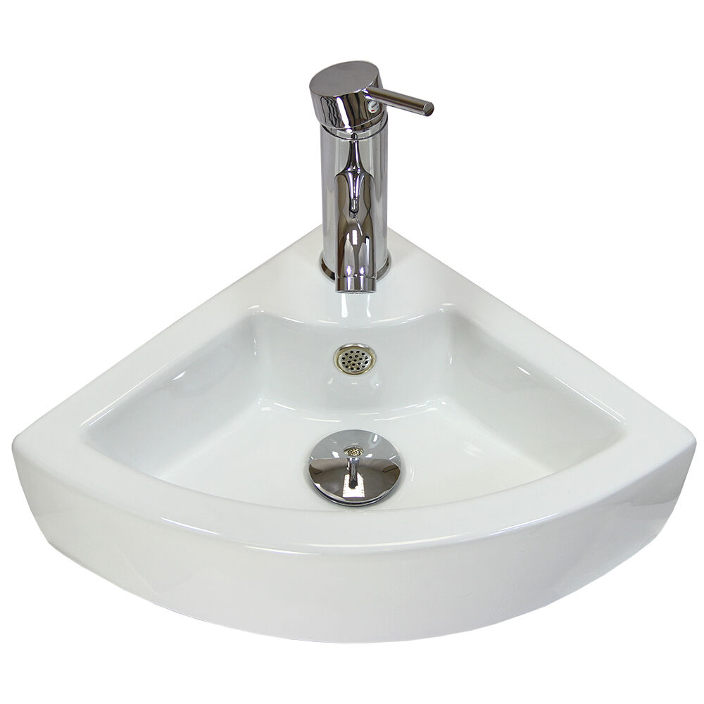 Corner Wash Basin : ... Sink Corner Wash Basin Bathroom Wall Mounted Small Ceramic Bowl eBay