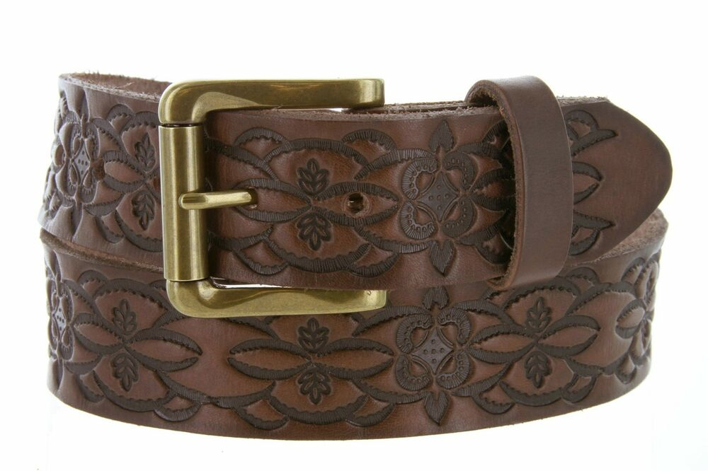 western floral engraved tooled leather casual durable