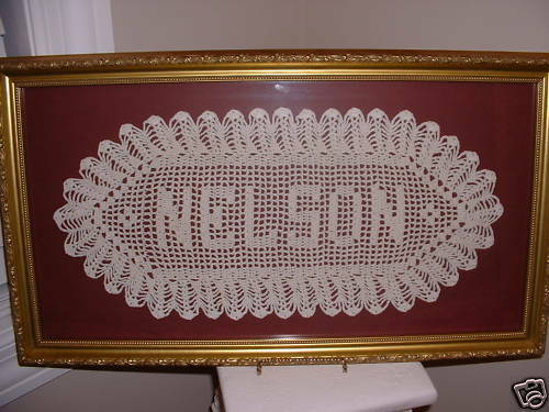 Crochet Wedding Gift: Personalized Crochet Name Doily Wedding Anniversary Baby