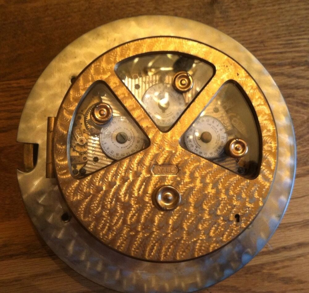 Brass Yale Time Lock Pie Shape Antique Clock Work Nice