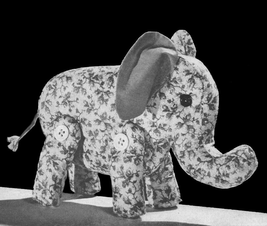 Vintage 1940s Easy To Sew Elephant Stuffed Animal Toy