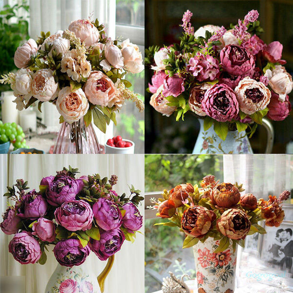 artificial bridal bouquet peony silk flowers fake leaf