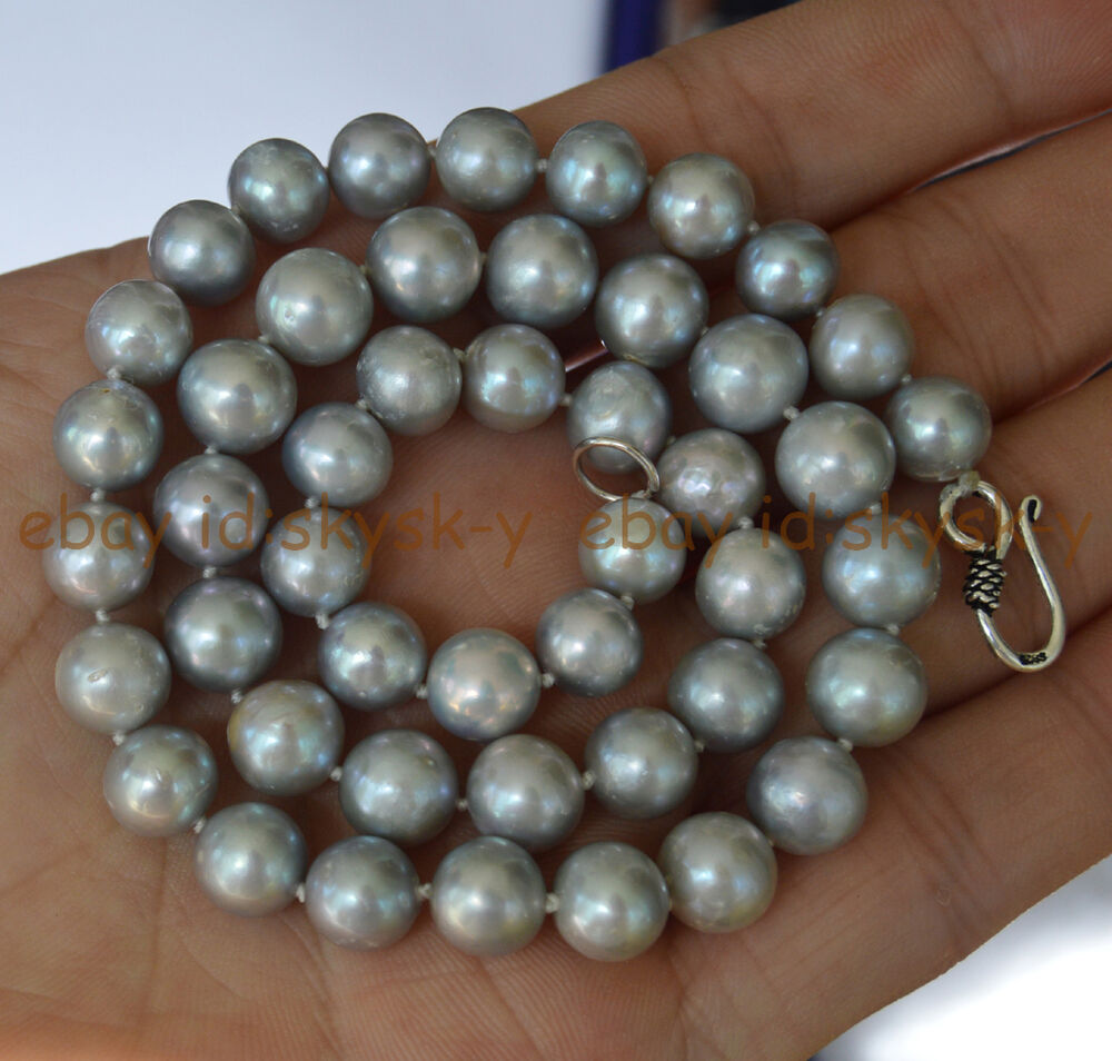 Real Natural South Sea Silver Gray Pearls Necklace 9-10mm ...