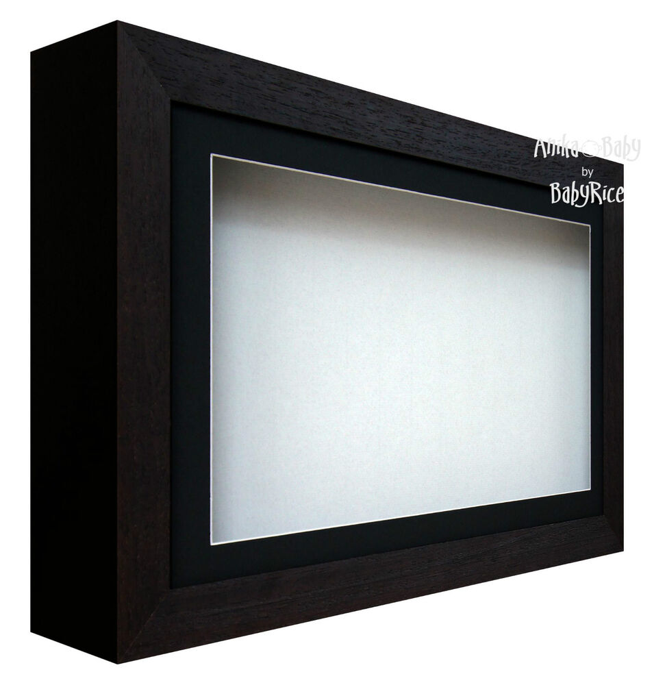 new large deep shadow box display frame for baby casts medals black white ebay. Black Bedroom Furniture Sets. Home Design Ideas