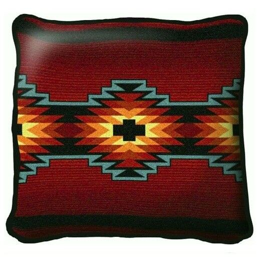 SOUTHWEST INDIAN WESTERN DESIGN RED TAPESTRY THROW PILLOW 17x17 eBay