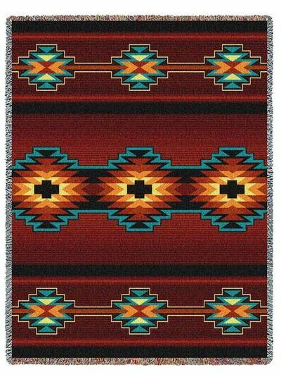 Southwest Indian Western Geo Essme Red Tapestry Throw