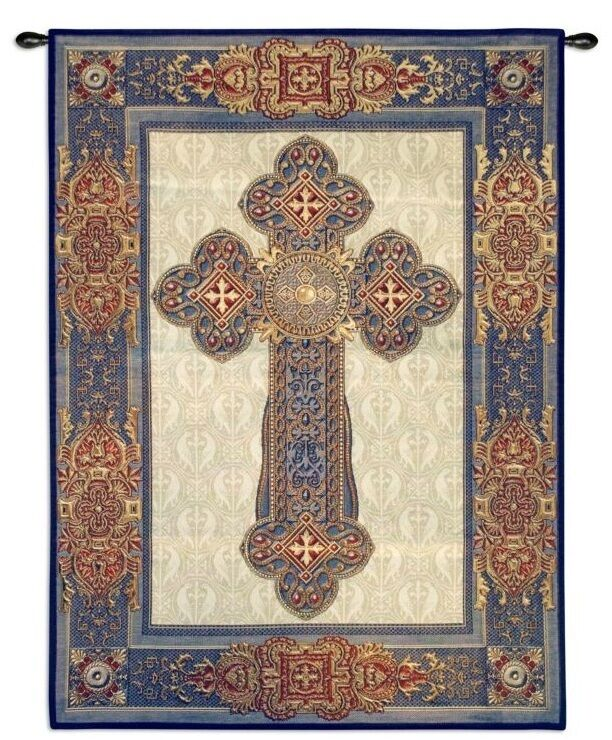 celtic gothic cross medieval art decor tapestry wall