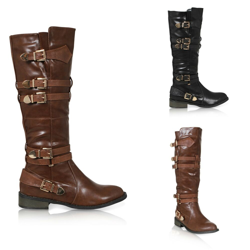 Awesome  Moda Celia1 Womens Casual Knee High Buckle Zipper Riding Boots  EBay