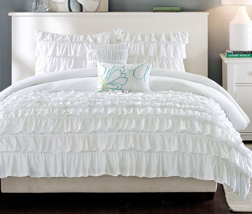 ruffle shabby white 5pc full queen comforter set teen