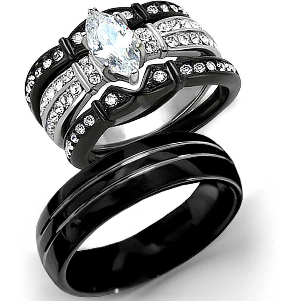 black wedding rings for her new 4 pc his tungsten black stainless steel wedding 1882
