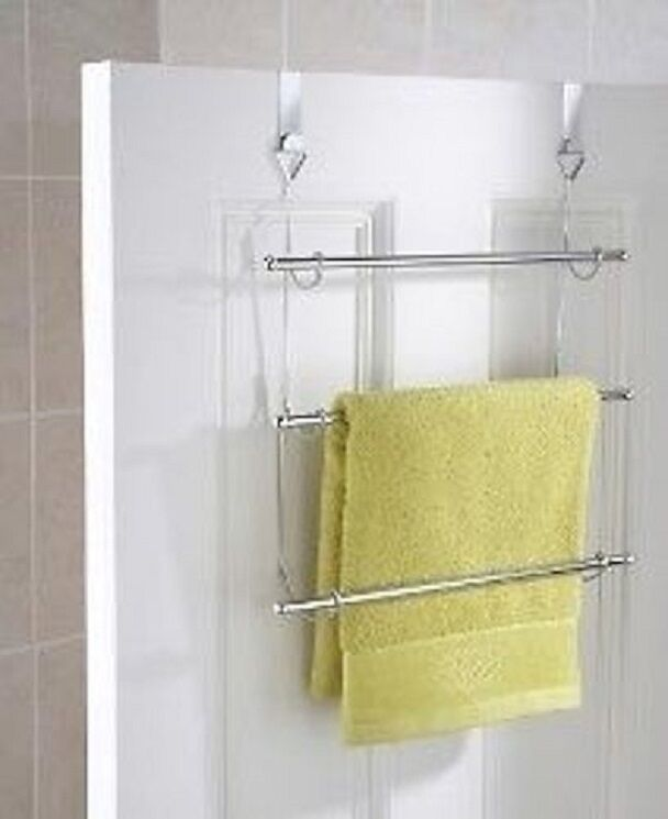 3 tier over door towel rail rack hanger holder bathroom storage organizer chrome ebay. Black Bedroom Furniture Sets. Home Design Ideas