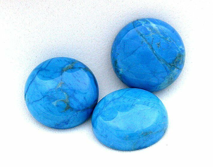 two 15mm turquoise colored howlite cab cabochon gem