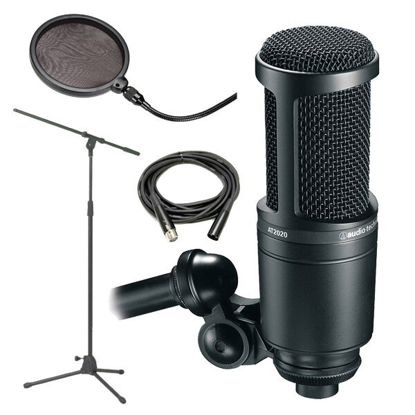 audio technica at2020 recording condenser mic w stand cable filter 3111003601 ebay. Black Bedroom Furniture Sets. Home Design Ideas