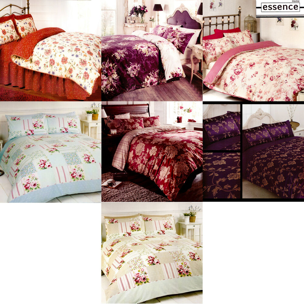 Luxury Floral Jacquard Bedding Double King Size Shabby