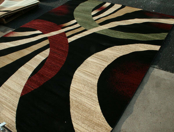 New city brand new contemporary brown and beige modern for Red area rugs contemporary