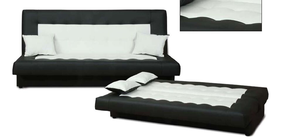 schlafsofa funktionssofa sofa bett incl kissen schwarz weiss mit bettkasten neu ebay. Black Bedroom Furniture Sets. Home Design Ideas