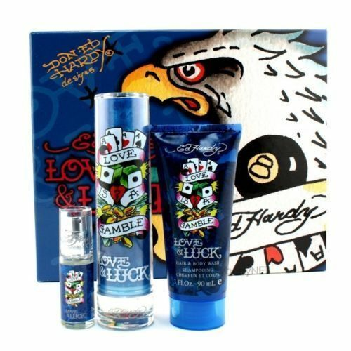Ed Hardy Perfume Lotion Body Spray: ED Hardy LOVE & LUCK 1.7 Oz 3PC Gift Set MEN COLOGNE PERFUME CHRISTIAN AUDIGIER