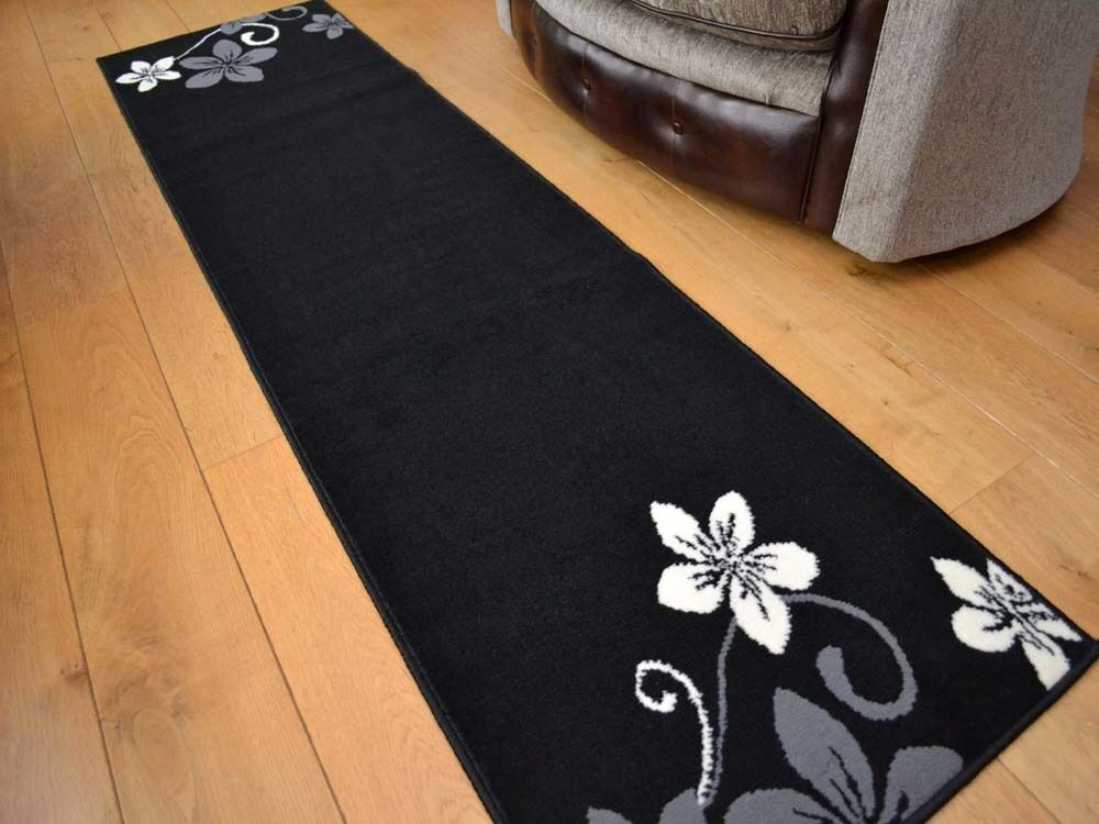 Extra long short black cream dark hall hallway floor for Runners carpets and rugs