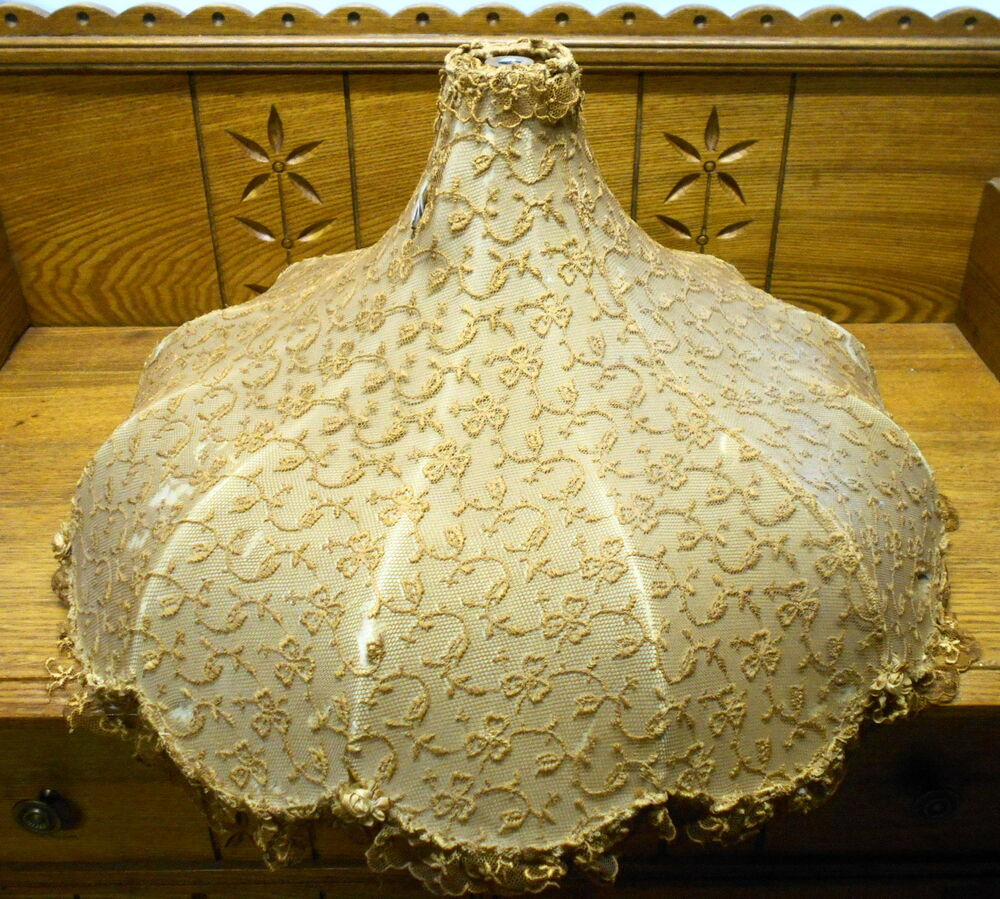 Vintage Lamp Shades: Antique Lace Material Lamp Shade - Some Tears