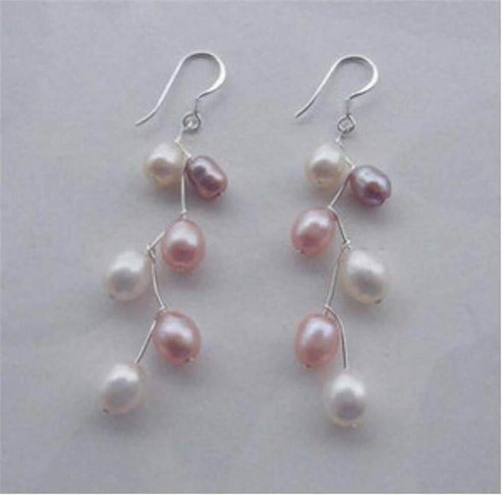Beautiful akoya saltwater cultured pearls pink white ...