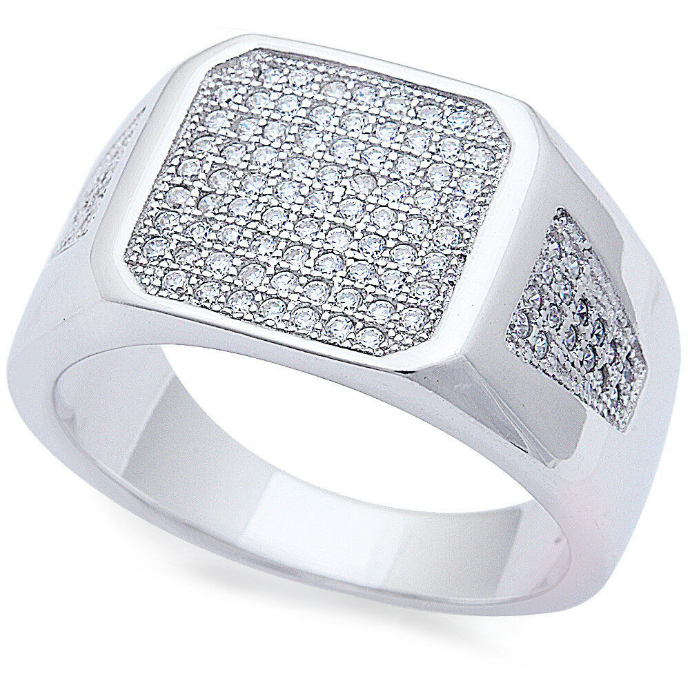 s pave cz 925 sterling silver fashion ring sizes 8 11